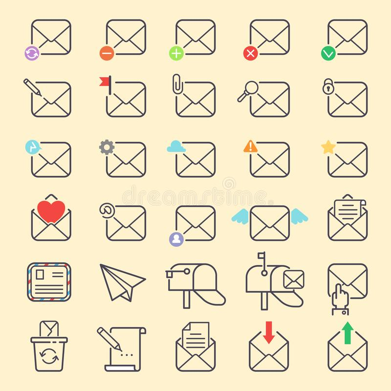 Email envelope cover vector outline icons communication web symbols set. Office correspondence blank covere-mail address. Design. Business web letter writing stock illustration
