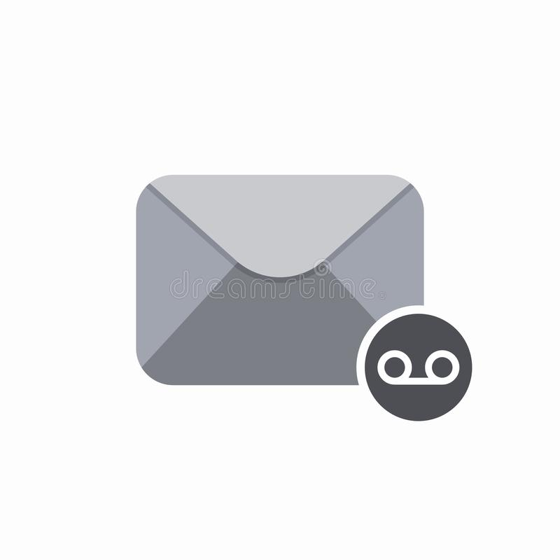 Email envelope mail message voice icon. Vector Flat illustration stock illustration