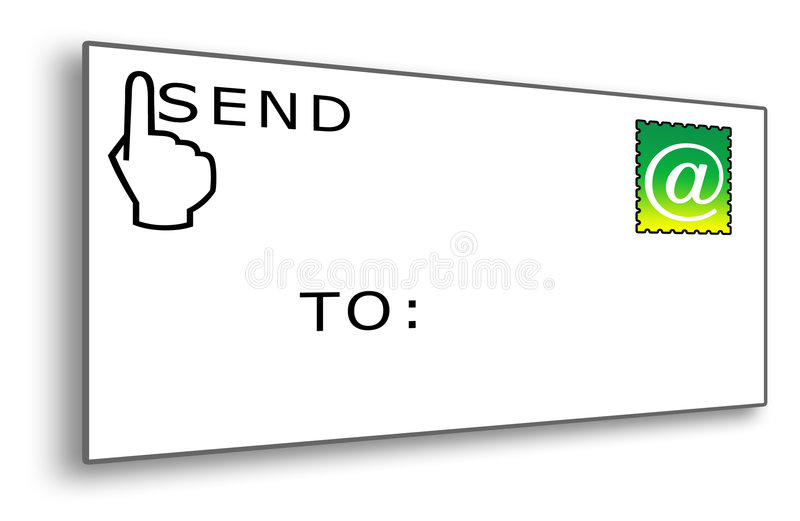 Email Envelope with Stamp stock illustration