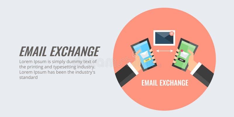 Businessmen exchanging information via sending emails. Flat design vector banner. stock illustration