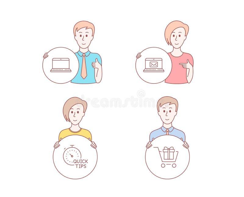 Email, extremidades rápidas e iconos del cuaderno Muestra del carro de la compra Nuevo mensaje, trucos útiles, ordenador portátil ilustración del vector