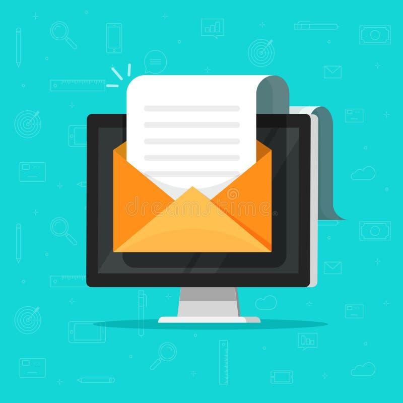 Email för elektroniskt dokument på datorvektorillustration, plant för tecknad film stort papper doc länge och mejlkuvertPC royaltyfri illustrationer