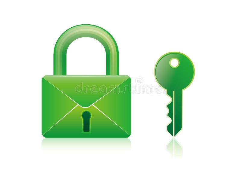 Email, fechamento, chave ilustração royalty free