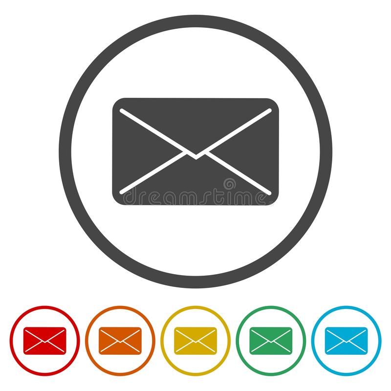 Email flat icon post sign stock illustration