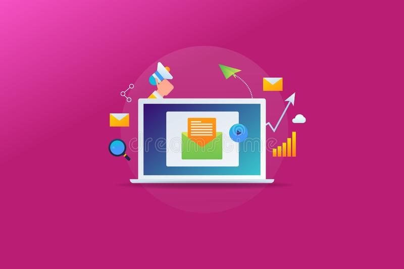 Email gazetka pokazuje na ekranie komputerowym, cyfrowa marketing usługa, biznesowy wzrostowy pojęcie royalty ilustracja