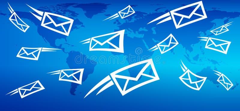 Email global marknadsföringsbakgrund, rengöringsdukmessaging som överför post royaltyfri illustrationer