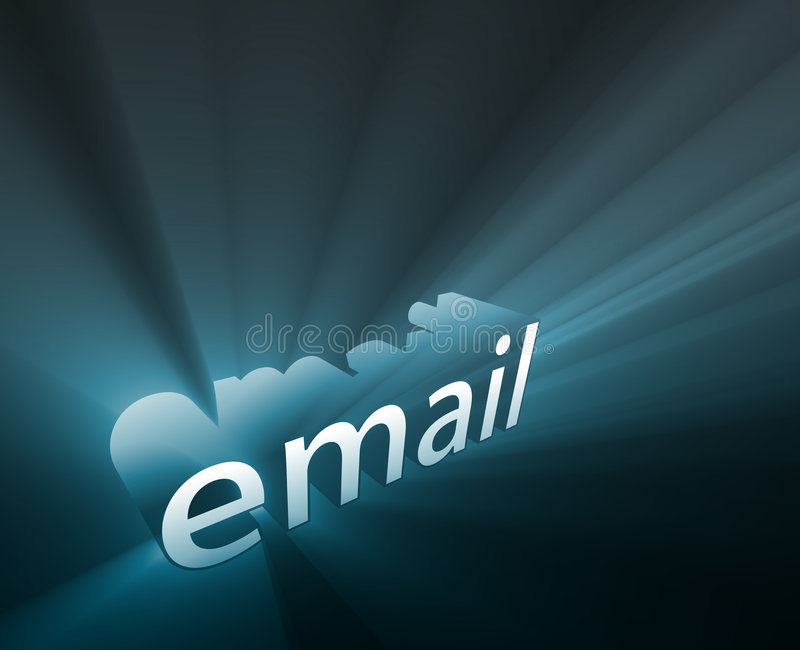 Email glowing. Email internet word graphic, with glowing light effects stock illustration