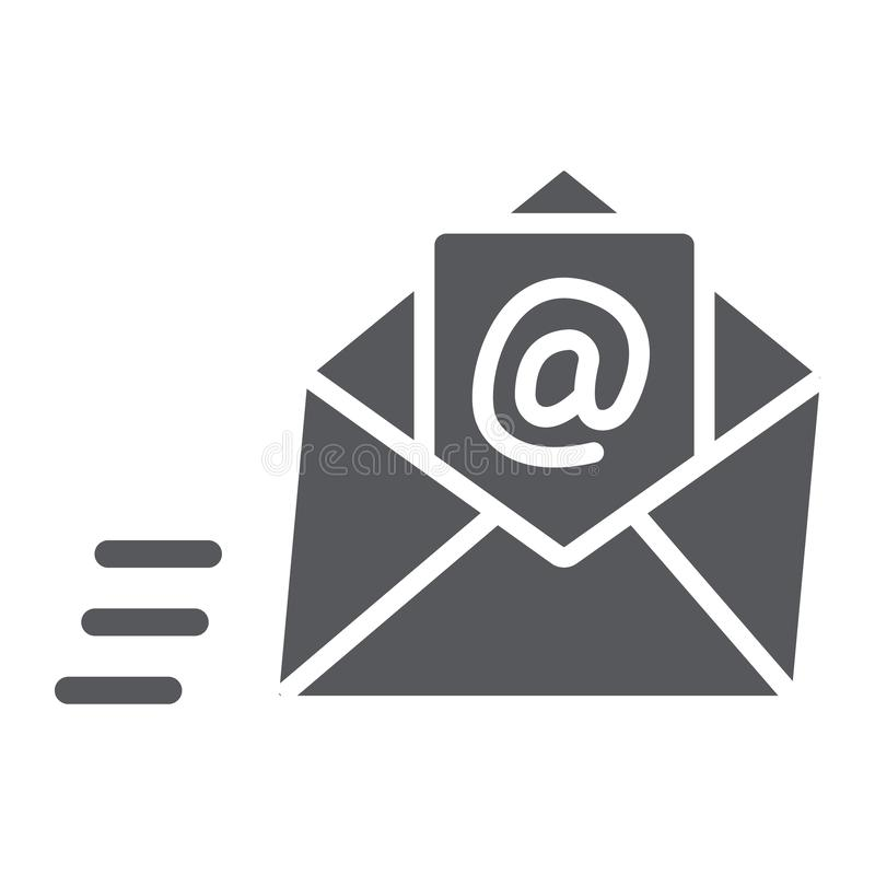 Email glyph icon, mail and letter, mail envelope sign, vector graphics, a solid pattern on a white background. vector illustration