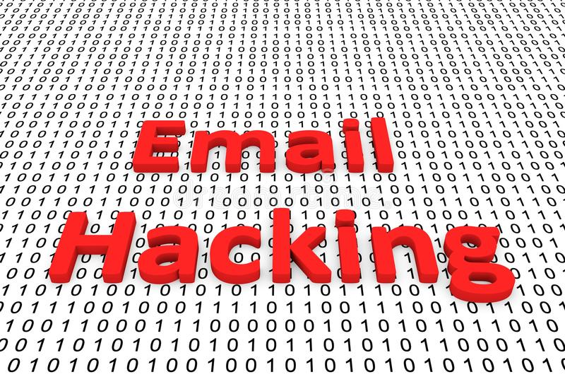 Email hacking. In the form of binary code, 3D illustration stock illustration