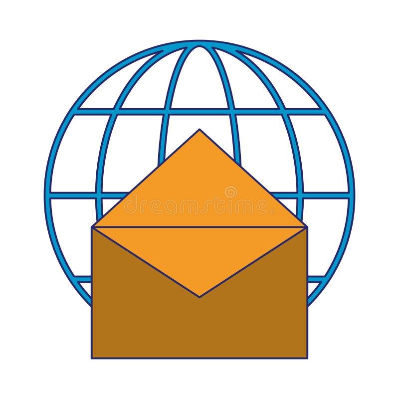 Email i globalne sfera symbolu niebieskie linie ilustracji