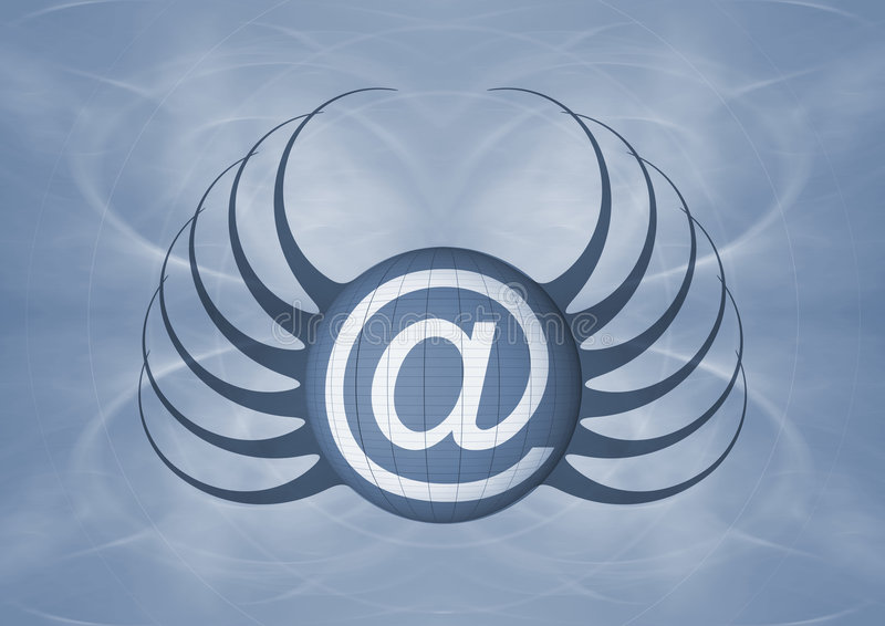 Email Icon. A background with an Email sign - @ with a design resembling spider royalty free illustration