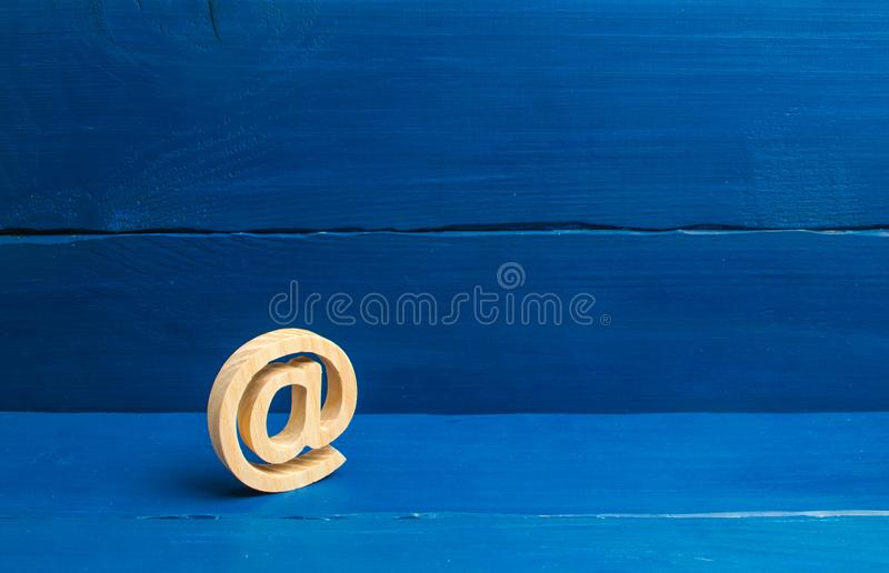 Email icon on blue background. Internet correspondence, communication on the Internet. Contacts for business. Establishing contact stock photography