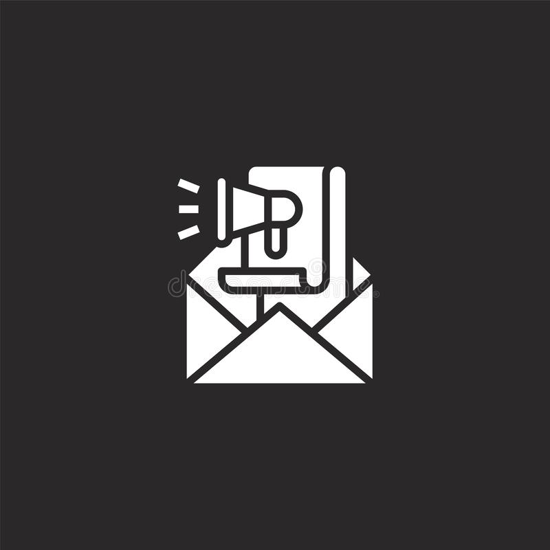Email icon. Filled email icon for website design and mobile, app development. email icon from filled seo collection isolated on. Black background royalty free illustration
