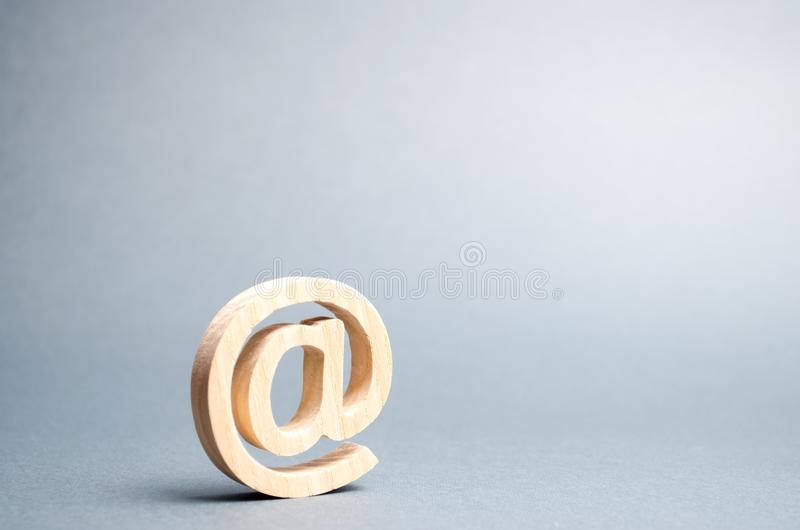 Email icon on gray background. internet correspondence, communication on the Internet. Contacts for business. Establishing stock image