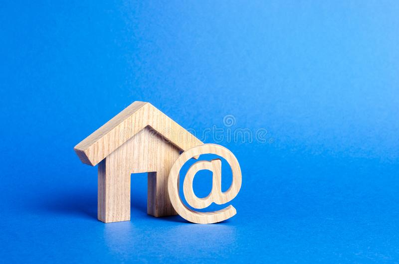 Email icon and house. Contacts for business, home page, home address. communication on Internet. Internet and global communication royalty free stock photography