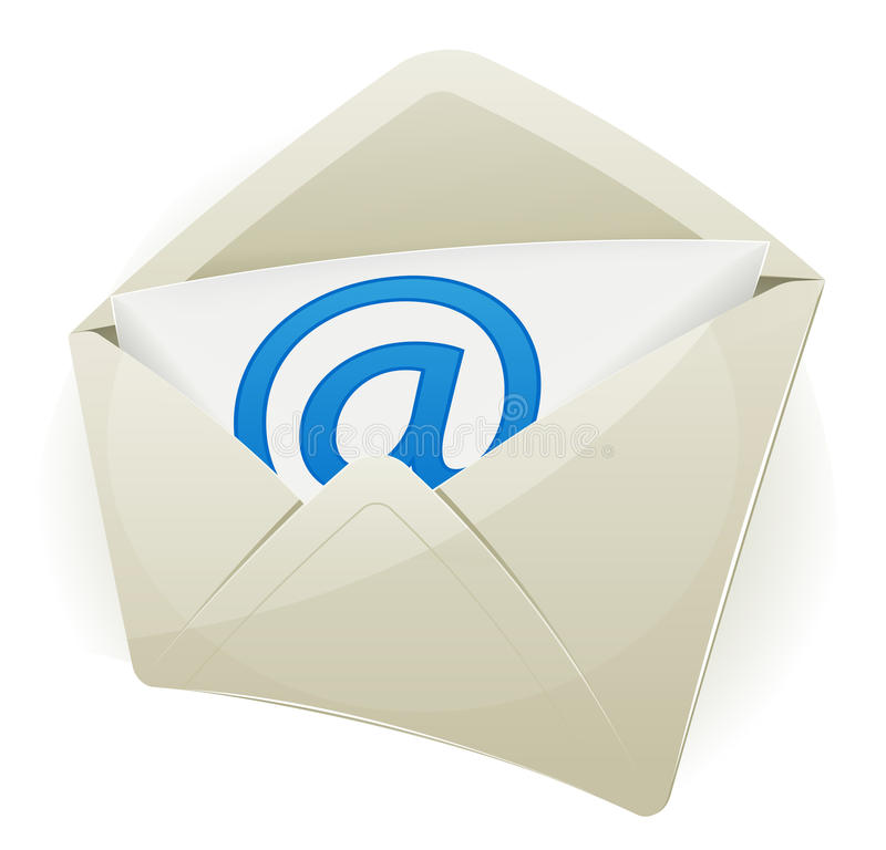 Email Icon. Illustration of an email icon envelope with arobase symbol over white background, with glossy effect stock illustration