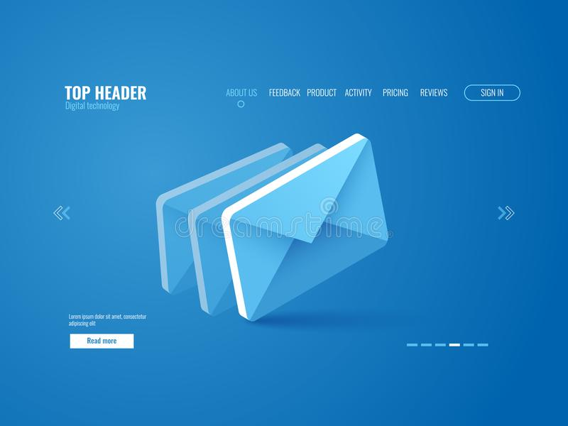Email icon isometric, website page template vector on blue vector illustration
