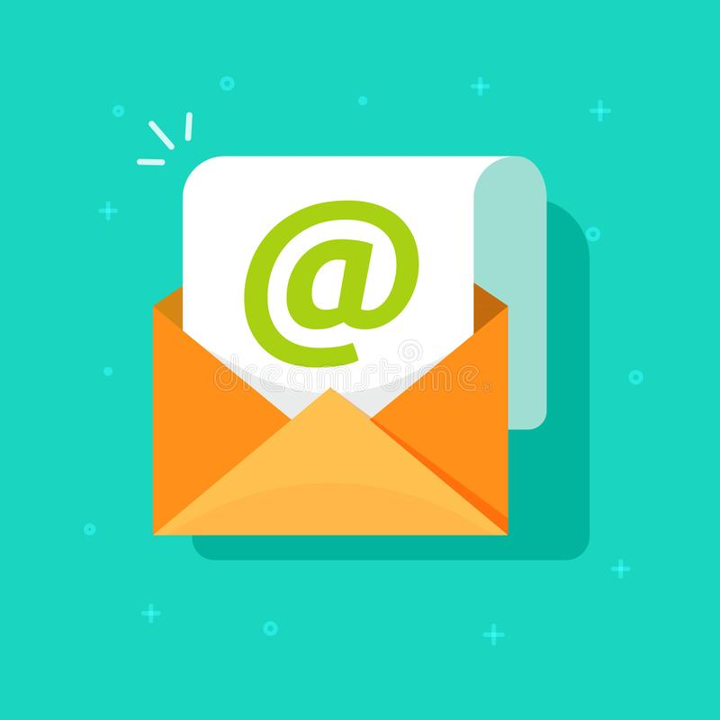 Email icon vector symbol, flat cartoon open envelope with e-mail sign, internet or electronic mail document isolated royalty free illustration