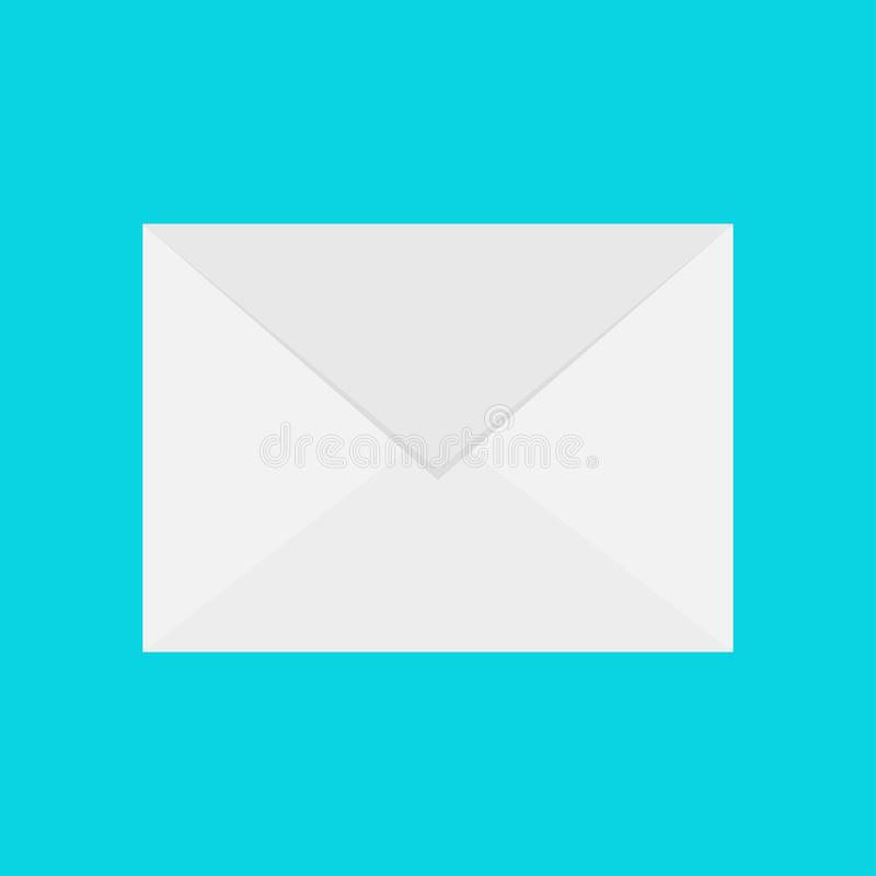 Email icon. White paper envelope. Letter template. New message sign symbol. Unread notification. Flat design. Blue background. Iso royalty free illustration