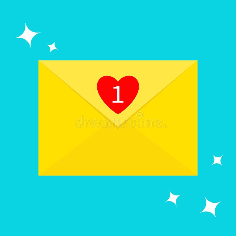 Email icon. Yellow paper envelope. Letter template. New message sign symbol. Unread mail notification with heart number marker. On vector illustration