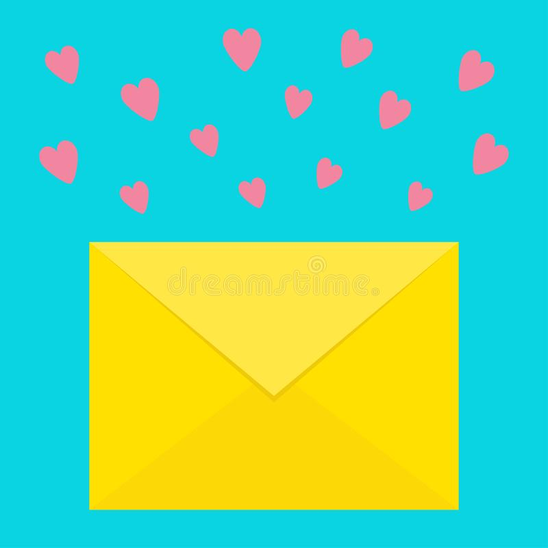 Email icon. Yellow paper envelope. Love letter template with pink flying hearts. New message sign symbol. Unread notification. Fla stock illustration