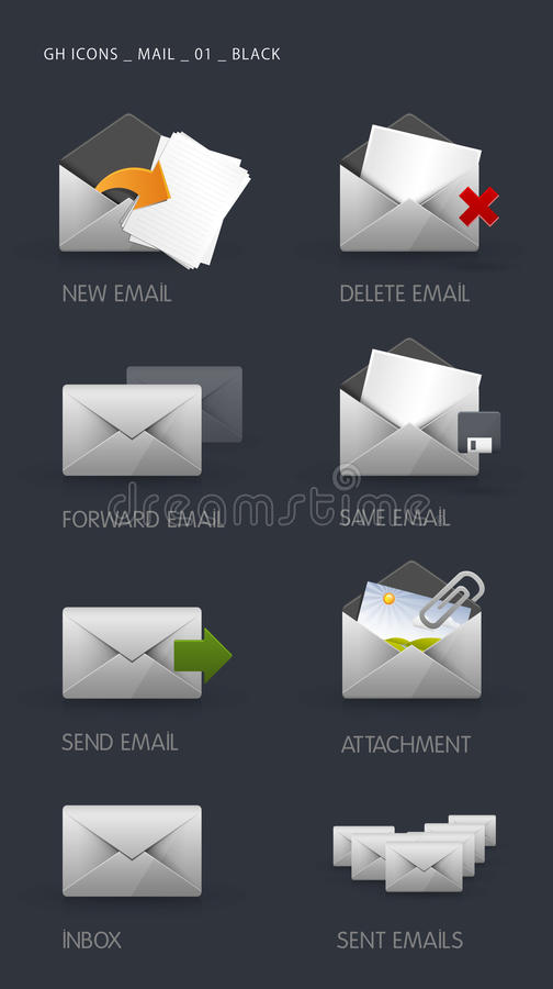 Download Email Icons stock vector. Illustration of forward, communication - 16323250