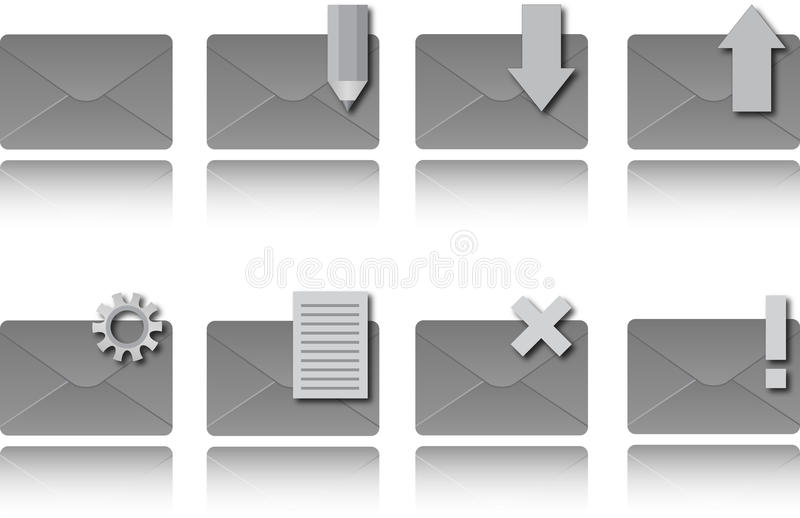 Download Email icons stock vector. Image of inbox, white, reflections - 25271751