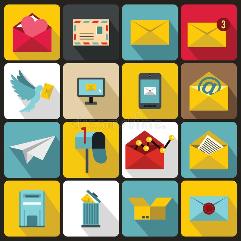 Email icons set, flat ctyle. Email icons set in flat ctyle. Postal and mailing signs set collection illustration stock illustration