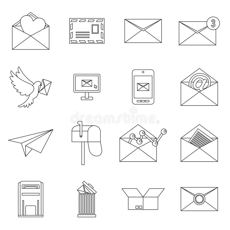 Email icons set, outline ctyle. Email icons set in outline ctyle. Postal and mailing signs set collection vector illustration stock illustration