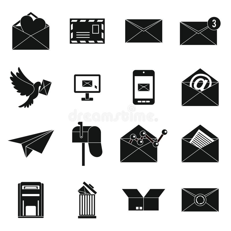 Email icons set, simple ctyle. Email icons set in simple ctyle. Postal and mailing signs set collection illustration vector illustration