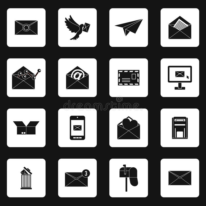 Email icons set, simple style. Email icons set in simple style. Postal and mailing signs set collection vector illustration stock illustration