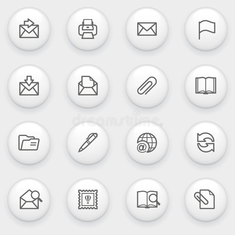 Email icons with white buttons on gray background. vector illustration