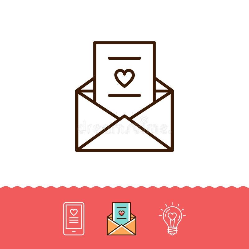 Email ikona, miłość sms lub romantyczne wiadomości ikony, telefonu znak, koperty linii cienki symbol również zwrócić corel ilustr royalty ilustracja
