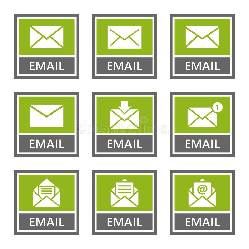 Email ikony i znaki ustawiają, poczta wiadomość royalty ilustracja