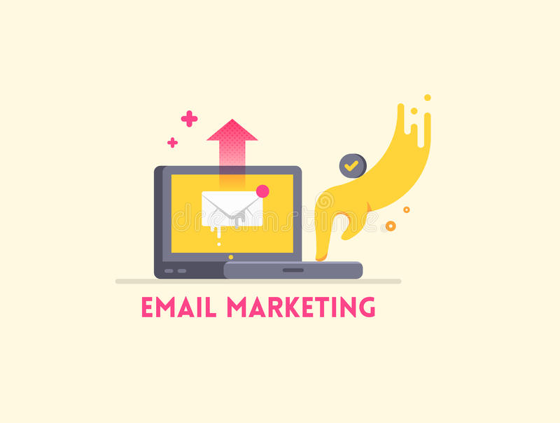 Email ikony marketingowy pojęcie Laptop z ręką wysyła list ilustracji