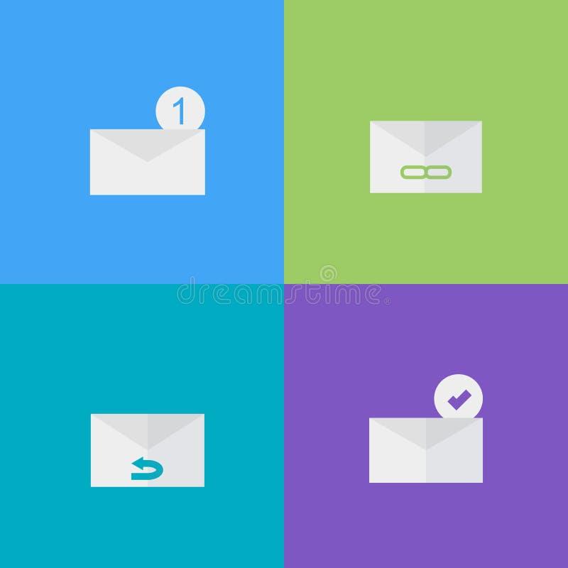 Email ikony mieszkania stylu ilustracja - wektor royalty ilustracja