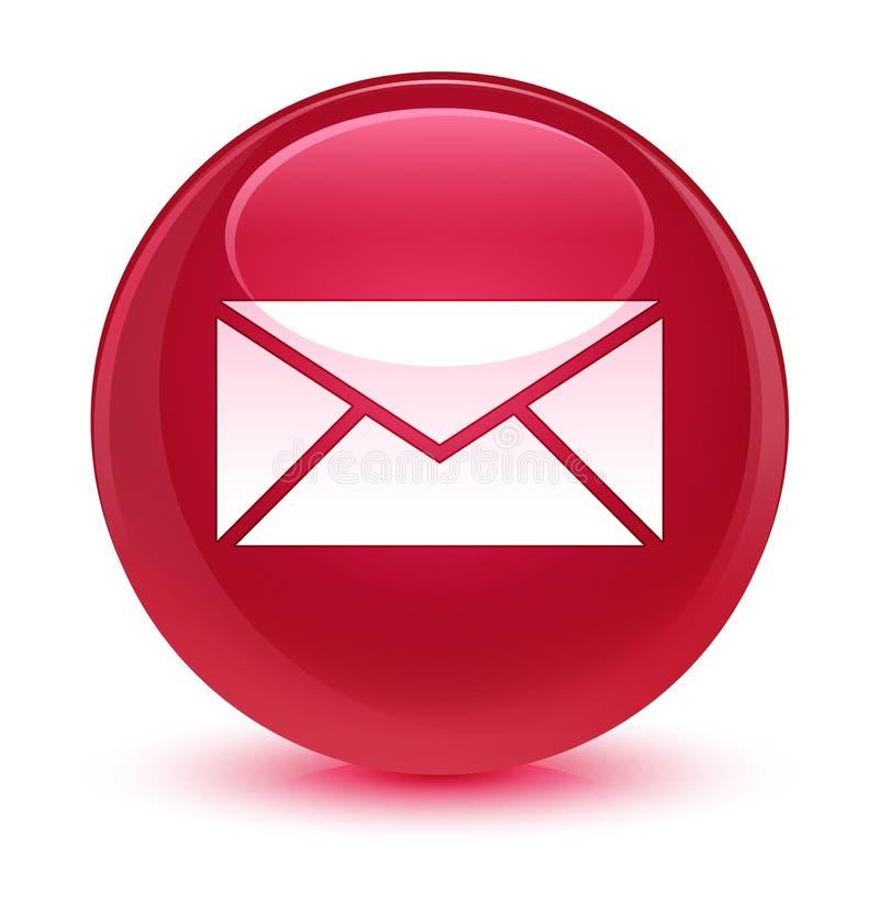 Email ikony szklisty różowy round guzik ilustracja wektor