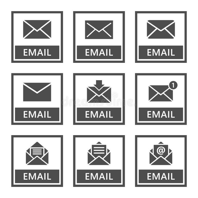 Email ikony ustawiać koperta podpisują wewnątrz wektor ilustracji