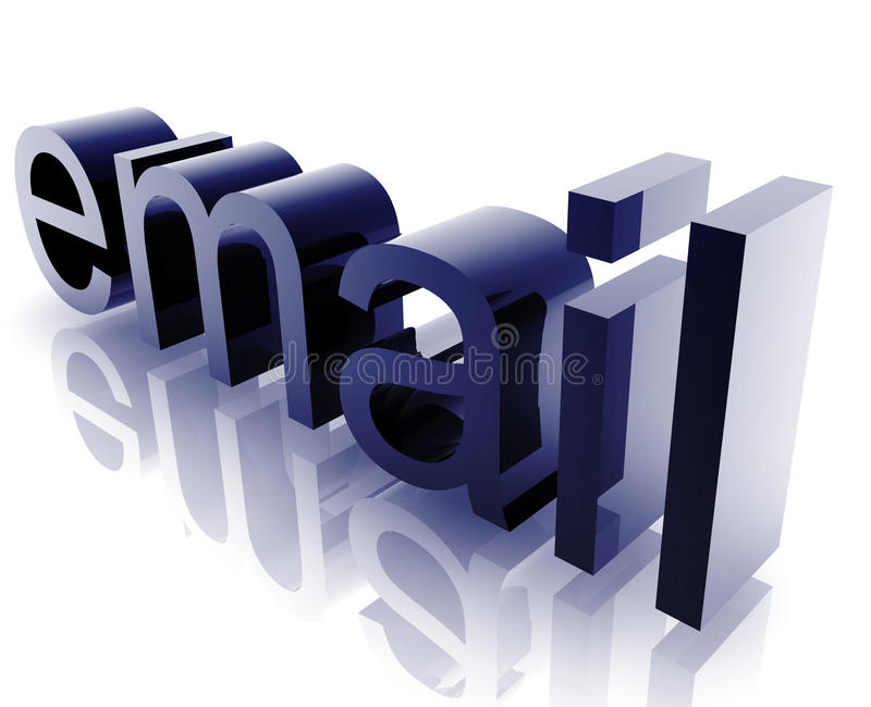 Email internet. Word graphic, with metal chrome style stock illustration
