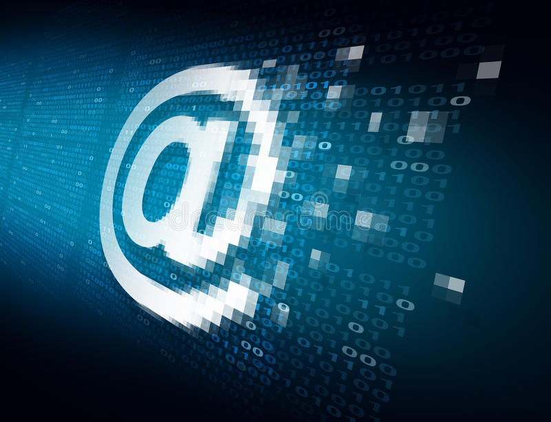 Email Internet Security. Technology concept as an at sign icon being encrypted for data transfer protection with binary code background as an online safety icon vector illustration
