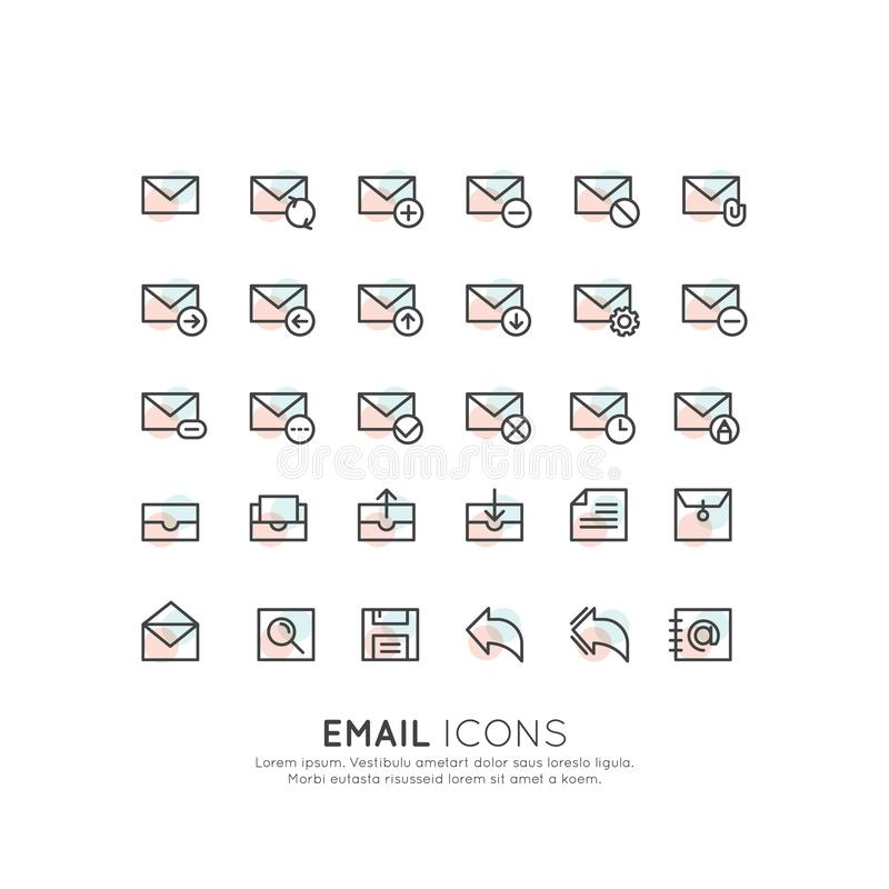 Email koperty Pudełkowaty list, wiadomości komunikaci Doręczeniowy narzędzie royalty ilustracja
