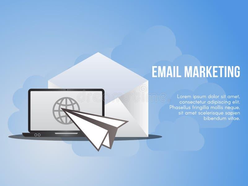 Email lançant le calibre sur le marché conceptuel d'illustration de conception de vecteur illustration stock