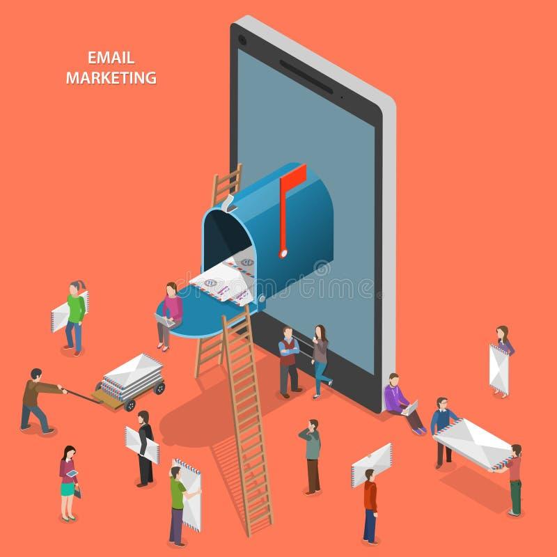 Email lançant le concept sur le marché isométrique plat de vecteur images libres de droits
