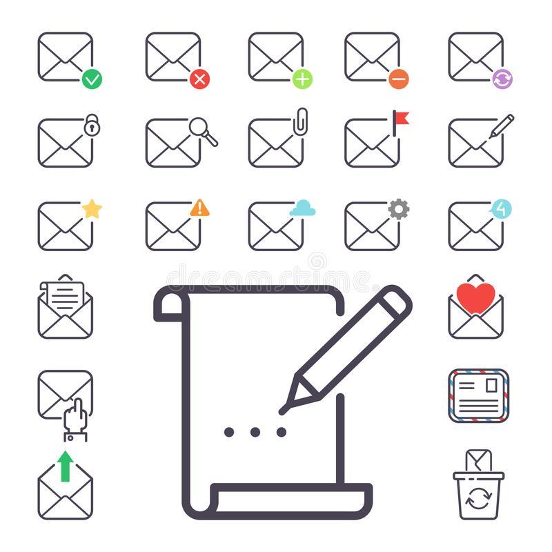 Email letter vector icons set envelope cover communication correspondence blank address outline mailbox design paper royalty free illustration
