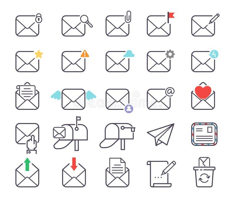 Email letter vector icons set envelope cover communication correspondence blank address outline mailbox design paper vector illustration
