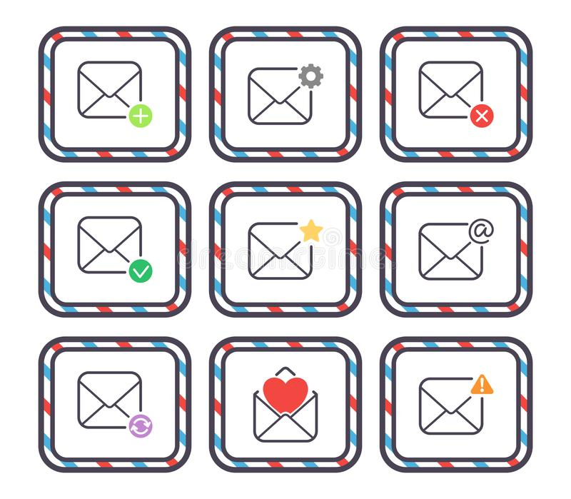 Email letter vector icons set envelope cover communication correspondence blank address outline mailbox design paper. Empty card writing message illustration royalty free illustration