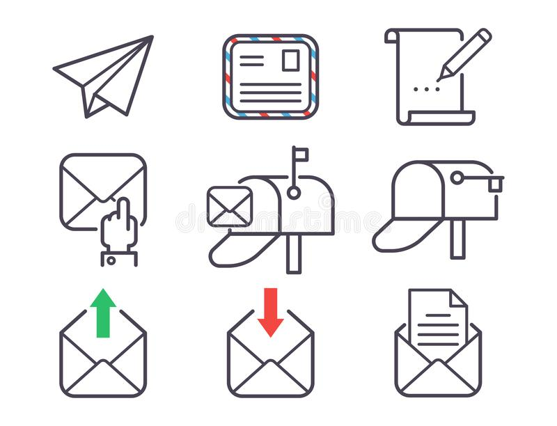 Email letter vector icons set envelope cover communication correspondence blank address outline mailbox design paper. Empty card writing message illustration stock illustration