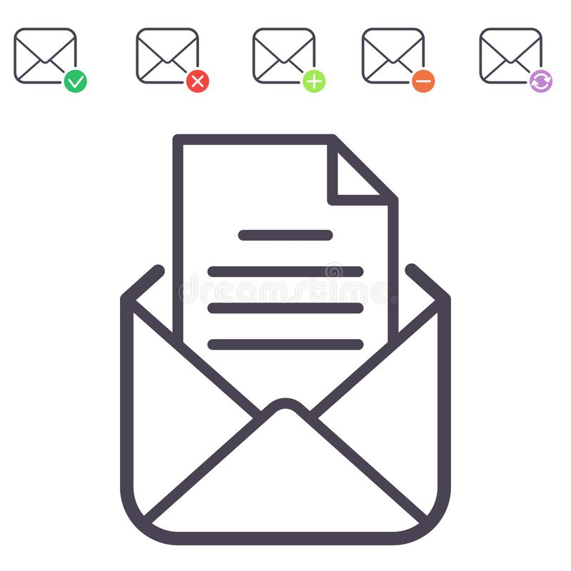 Email letter vector icons set envelope cover communication correspondence blank address outline mailbox design paper. Empty card writing message illustration vector illustration