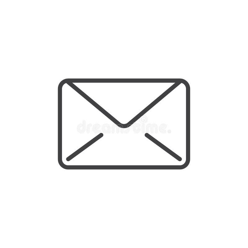 Email, ligne de message icône, signe de vecteur d'ensemble, pictogramme linéaire de style d'isolement sur le blanc illustration stock