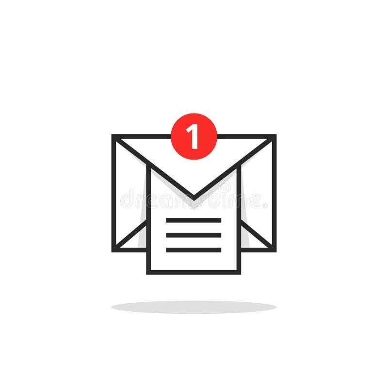 Email linéaire comme le logo d'avis de boîte de réception illustration libre de droits